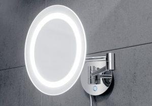 oglinda rotunda cosmetica LED si touch